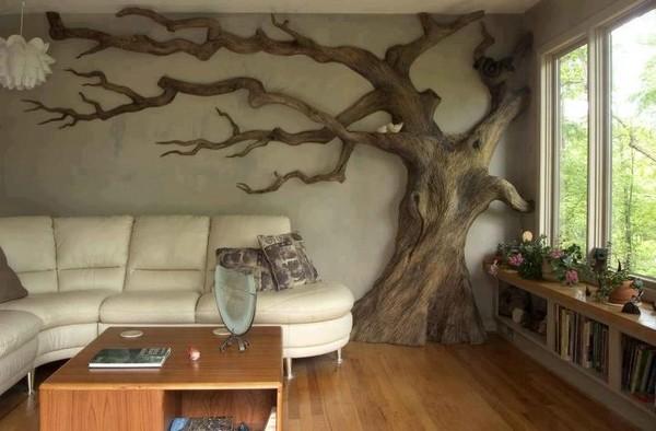 un arbre dans le salon. Black Bedroom Furniture Sets. Home Design Ideas