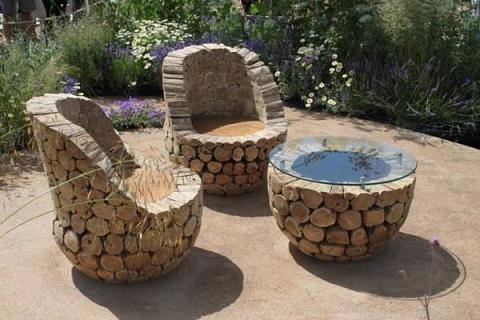 salon de jardin - Table De Jardin En Rondin De Bois