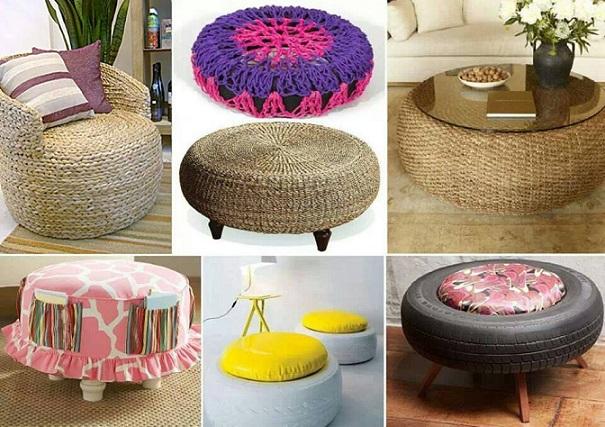 pouf et table en pneu. Black Bedroom Furniture Sets. Home Design Ideas